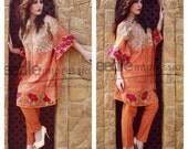Needle Impressions gorgeous kaftan, orange kaftan, middle eastern Clothing, short tunic, open sleeves
