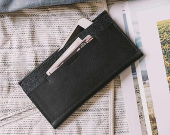 "iPhone 7 Wallet, iPhone 7 Case, iPhone 7 Sleeve, leather, wool felt, ""Carrier"", suits iPhone 6, iPhone 6S, by band&roll"