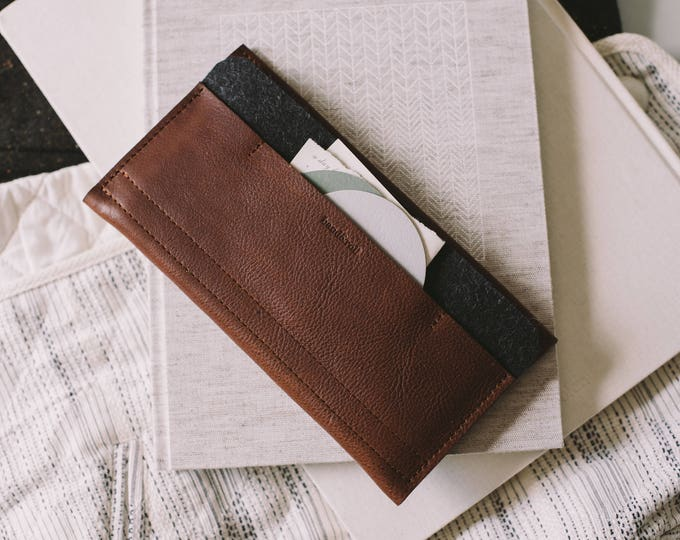 """New leather wallet for Samsung Galaxy S8+, Samsung Galaxy S8 Plus, leather, wool felt, """"Carrier"""", tan, brown, black, by band&roll"""