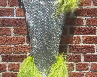 Vintage Green Gold Sequin Leotard // Dance Costume // Showgirl