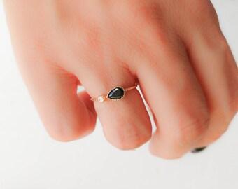 SALE - Black stone open ring -  Black Teardrop ring -Black and white stone ring -  Gold ring - open cuff ring - Dainty ring - Gold open ring