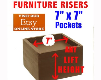 """7"""" x 7"""" Top Pocket Furniture Risers, Bed Lifters - Custom Sizes, All Wood"""
