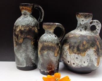 3 Ruscha   Keramik  Vases West German 70's Retro Mid century Fat Lava Space Age