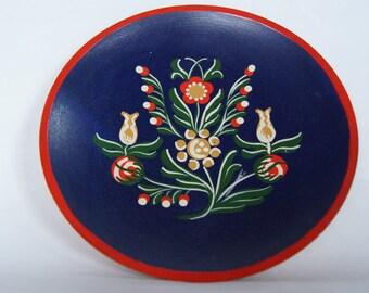 Vintage Wooden Handpainted Norwegian Style Decorative Plate Bucharest Romania folk Art Shallow bowl Jewelry Decor