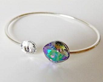 Sterling bracelet, sterling bangle, silver bracelet, silver bangle, silver jewelry, swarovski bracelet, swarovski crystal, sterling silver