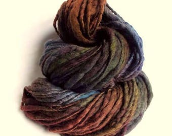 Thick and Thin yarn, chunky wool, blues, greens and dark browns, knitting yarn, chunky merino knitting wool, big knitting