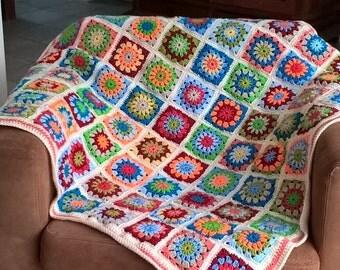 Orange crochet blanket, granny square blanket, babyblanket
