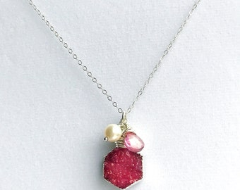 Raspberry Druzy Crystal Freshwater Pearl Mystic Quartz Sterling Silver Necklace