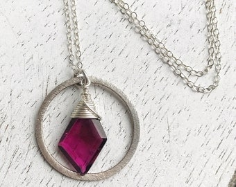 Faceted Tourmaline Gemstone Sterling Silver Hoop Necklace