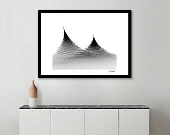 abstract art, computer geek gift, EdWarickFineArt, fractal art, black and white, fractal photography, math poster, symmetric art,  line art