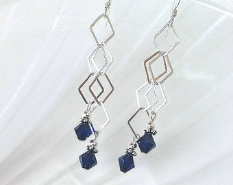 Blue Crystal Earrings Long Chain Earrings Beaded Jewelry Silver Dangle Earring Swarovski Crystal Earring Sterling Silver Dangle