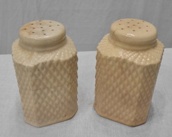 Vintage Large White Ceramic Salt and Pepper Shakers Retro Kitchen Made in Japan