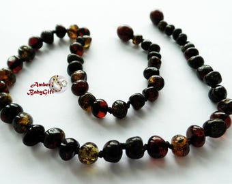 Pure Baltic Amber Teething Necklace - Polished Cherry and Green Amber Beads - Screw or Safety clasp - Choose Your Length, K-10