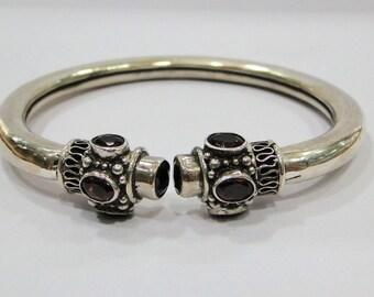 Traditional design 925 Sterling Silver Gemstone Bracelet Bangle Rajasthan India