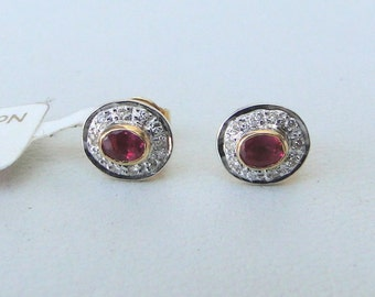 14 Carat Solid Gold Natural Ruby & Diamond Gemstone Stud Earring Pair