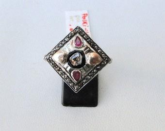 Victorian Diamond Polki Ruby 14 K Gold Silver Finger Ring