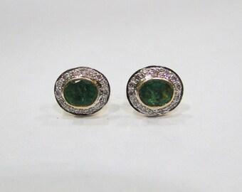 14 K Solid Gold Emerald & Diamond Stone Stud Earring