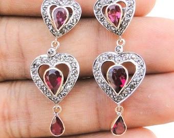 Victorian Diamond Rubellite Gold Silver Stud Earring India