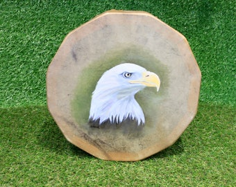 """11.5"""" Red Deer/Stag Rawhide Drum, Native American Style with Painted Eagle, Shaman / Pagan Drum"""