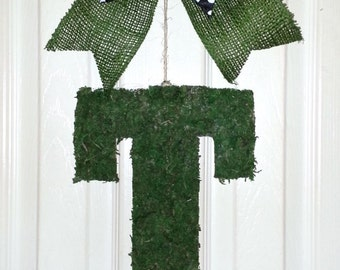 "Clearance Letter, 13"" Moss Letter, Monogram Letter ""T"", Moss Door hanger, Letter T wreath, Initial Door Hanger"