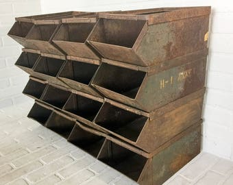 Military Steel Stacking Parts Bins Industrial Decor Craft Storage Set of 4