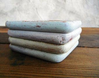 4 Spring Chic (re)Designed Coasters. In Light Blue, Green, and Gray