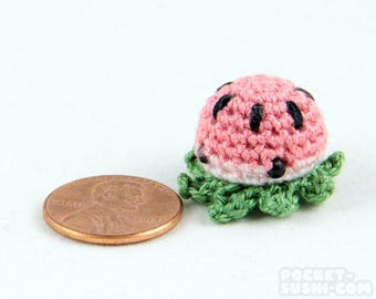 MiniPus (Watermelon) - Miniature Octopus Amigurumi Doll Plush with Optional Key Chain or Phone Charm Attachment