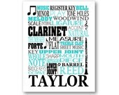 Clarinet Typography Canvas or Art Print, Choose Any Colors, Gift for any Music Lover or Clarinetist Clarinet Player, Clarinet Teacher Art