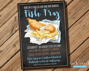 Fish Fry Invitation, Chalkboard Fish Fry, Fish & Chips Party, Rustic Fish Dinner Party, Seafood Fry Party, Printable Party Invitation