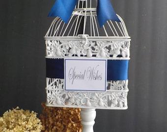 Antique White Birdcage Wedding Money Holder on White Pedestal, Well Wishes Birdcage Card Holder, Bridal Shower, Baby Shower, Wedding Cards