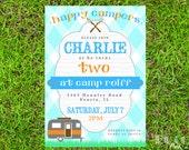 Kids Camp Themed Printable Birthday Party Invitation