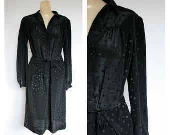Sale 1980's Office Dress / Vintage Little Black Dress /  Black Dot Shirt Dress / Vintage Modest Dress / Marie Torelli Dress M/L