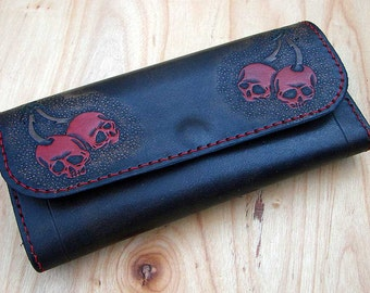 Woman wallet with Cherries Skull