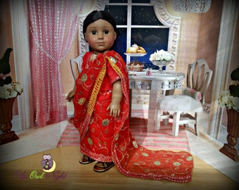 """Red Doll Sari American Made for 18"""" Girl Dolls"""