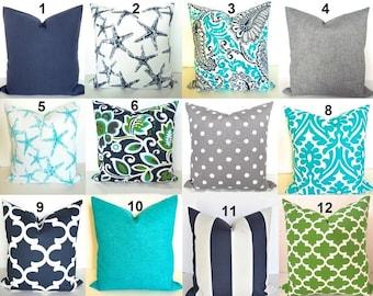BEACH OUTDOOR PILLOW Blue Throw Pillow Covers Blue Throw Pillows Turquoise Green 16 18 20x20 Aqua Gray Outdoor Pillow Cover Grey Pillow