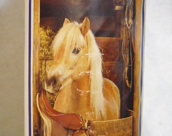 Vintage 80s horse in stable vertical wall mural poster