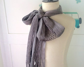 vintage skinny scarf, flapper girl scarf,metalic and sparkle, silver colors, skinny rock and roll scarf