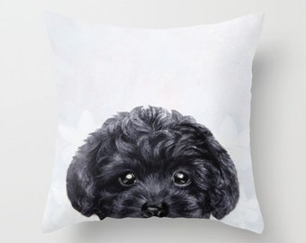 New, Black Toy poodle Pillow cover Original painting print , print on both sides, home decor, housewares