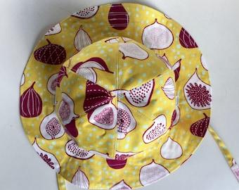 Kids sun hat, baby sun hat, reversible hat, Japanese fabric, kawaii, cat, fig, cotton hat