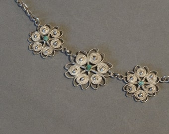 Vintage Turquoise Necklace Sterling Silver Filigree Cannetille Flowers Unique Jewelry Feminine Gift for Wife Mom Daughter