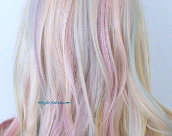 Pastel wig. Rainbow wig. Lace front wig. Blonde / Pastel color wig. One of kind wig. Durable heat friendly wig for daily use or Cosplay