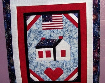 ON SALE A Little Bit of Patriotic, 4th of July, Patriotic Wall Hanging, Americana Wall Hanging, Red white and Blue, Hand Quilted Hanging
