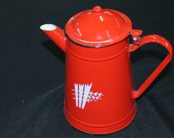 vintage prairie farmhouse red & white enamelware coffeepot Poland