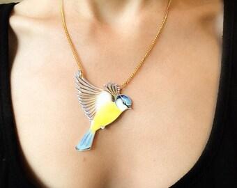 Hand painted large Bluetit pendant necklace