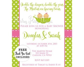 Two Peas In A Pod Baby Shower Invitation, Two Peas In A Pod Invitation, Twins Baby Shower Invitation, Girl Twins Invitation