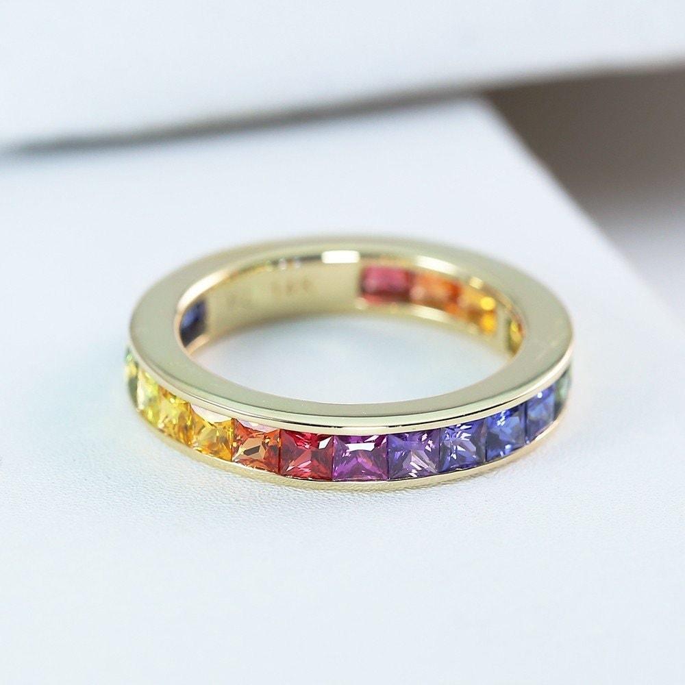 lgbt pride eternity ring wedding band 14k yellow gold unisex