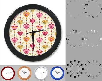 Rainbow Heart Wall Clock, Linear Design, Graphic Geometric Lined, Customizable Clock, Round Wall Clock, Your Choice Clock Face or Clock Dial