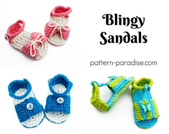 Crochet Pattern, Baby Booties Shoes Sandals Slippers, Bling
