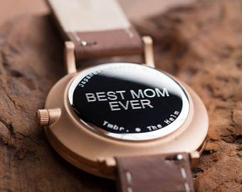 Watch For Women, Personalized Watch, Cherry Wood Rose Gold Watch, Brown Leather Strap - CSTM-HELM-CR
