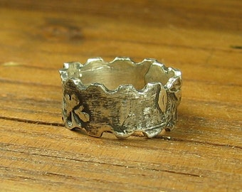 Recycled Sterling Silver Organic Leaves Ring